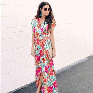 VICI Costa Rica Floral Wrap Maxi Dress NWT